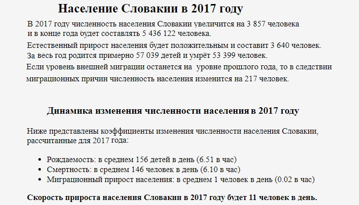Динамика изменения численности населения Словакии. Скриншот со страницы countrymeters.inforuSlovakia